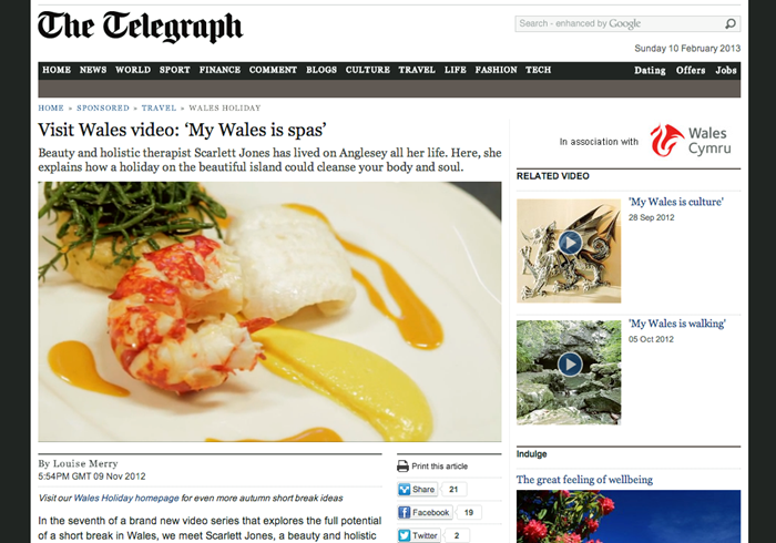 Tre-Ysgawen Hall Spa featured on Telegraph Website